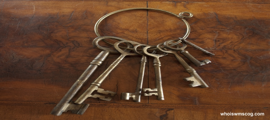 Antique skeleton keys with wood background.